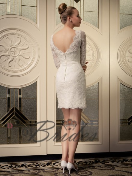 3/4 Sleeves short wedding dress