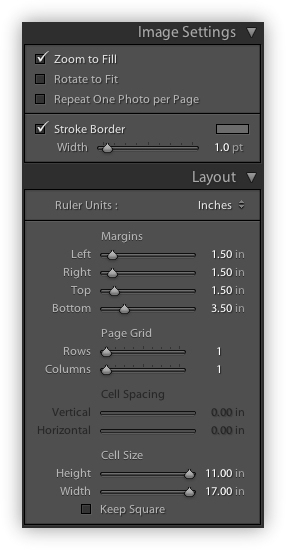 Lightroom Print Layout Settings